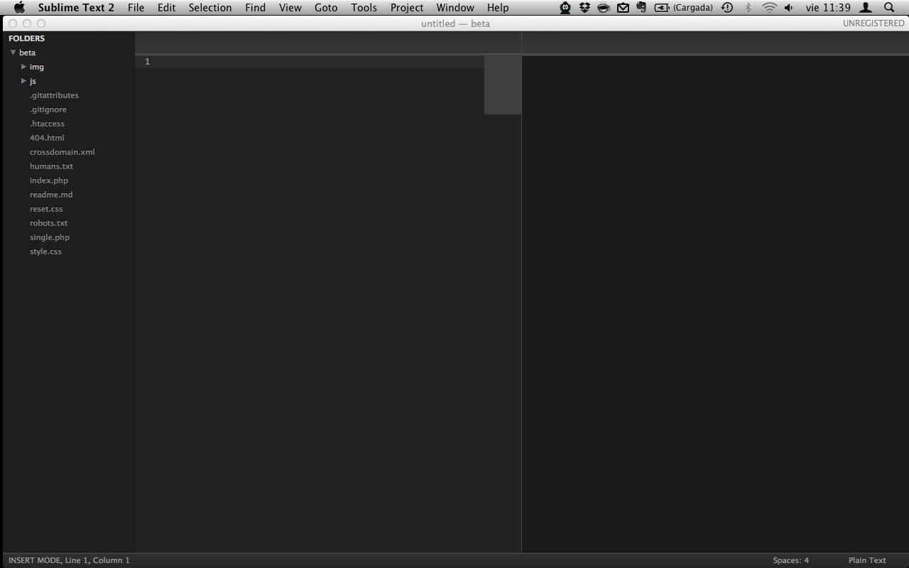 Sublime Text 2, Pantalla de inicio
