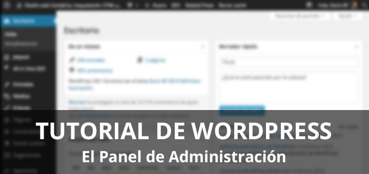 panel de administración de WordPress