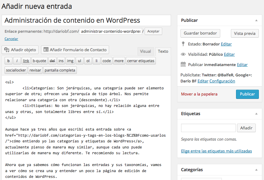 panel edicion entradasWordPress